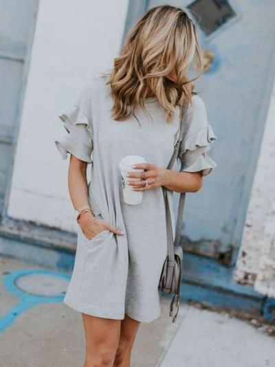Loose Falbala Short sleeve Shift Dresses