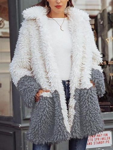 Women long color matching turn down neck coats