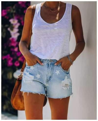 Fashion Print Hollow out Jean Short Pants
