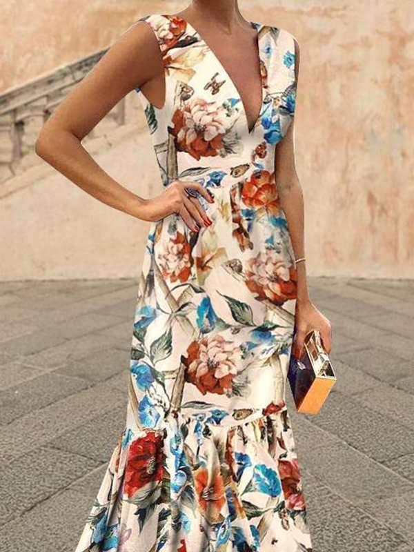 Chic V neck Bohemia Flower Printed Elegant Women Evening Dresses