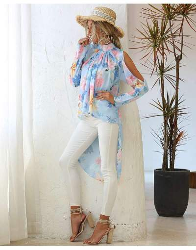 Fashion Print Off shoulder Long sleeve Stand collar Irregular Blouses
