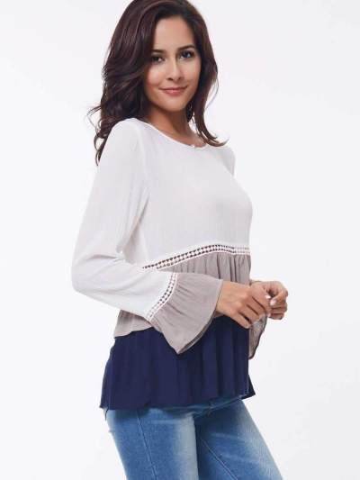 Fashion Gored Mandarin sleeve Drape T-Shirts