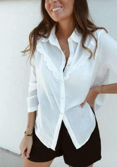 Casual Stringy selvedge Pure Long sleeve Blouses