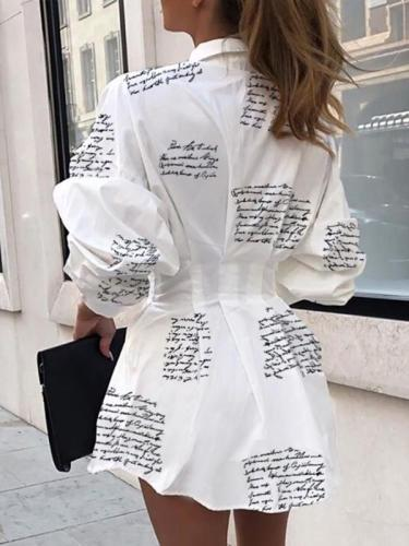 Printed slim Turn down collar shirt shift dresses