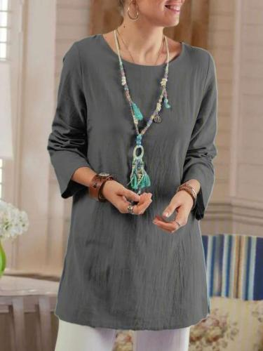 Fashion Casual Pure Round neck Long sleeve Shift Dresses
