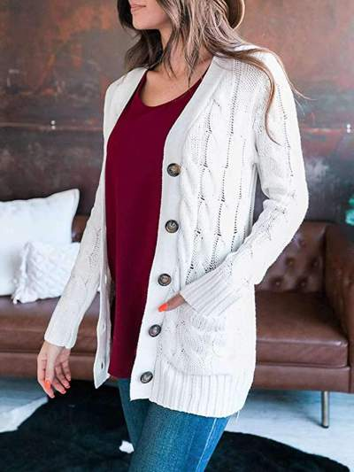 Fashion Pure Knit V neck Long sleeve Cardigan