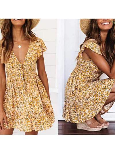 Women Summer Deep V Neck Printed Ruffle Hem Wrap A Line Mini skater Dresses