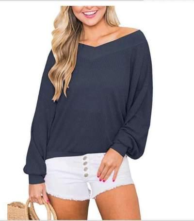 Off shoulder V neck Long sleeve T-Shirts