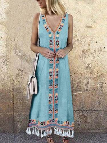 V Neck Colorful Bohemia Sleeveless Casual Long Maxi Dresses