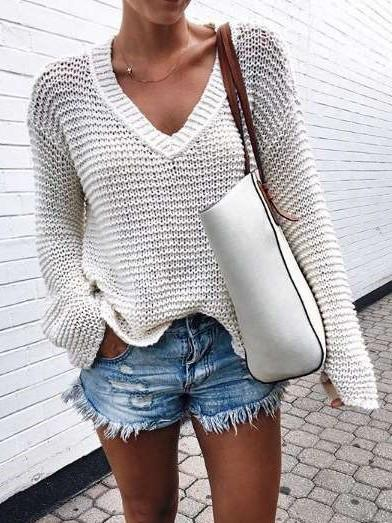 Loose Pure Knit V neck Long sleeve Sweaters