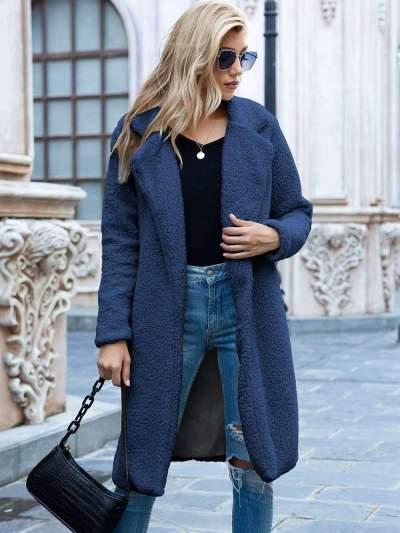 Fashion Pure Plush Lapel Long sleeve Coats