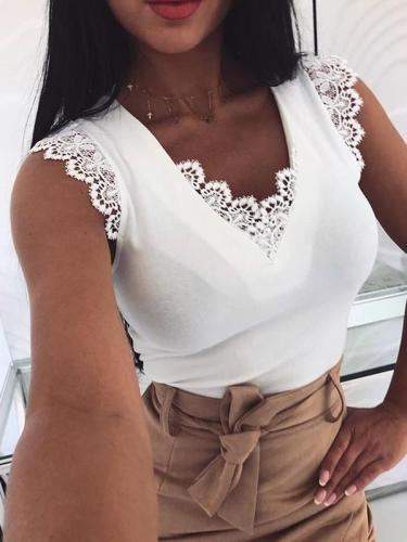 Sexy lace decoration plain sleeveless  v neck vests shirts