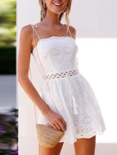 Chic Plain cotton and linen embroidered Strap Short Jumpsuits