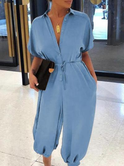 Stylish short sleeve  high waist loose wide leg girdle plain jumpsuits