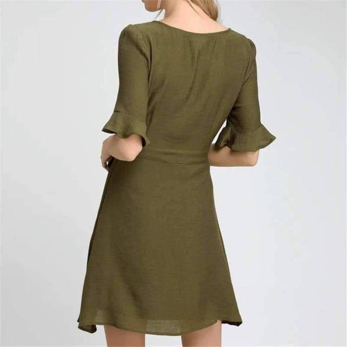 Pure Round neck Single-breasted Lacing Shift Dresses