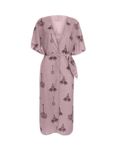 Leave printed women short sleeve maxi dresses