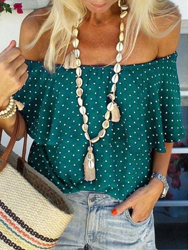 Stylish polka dot printed off shoulder short sleeve T-shirts