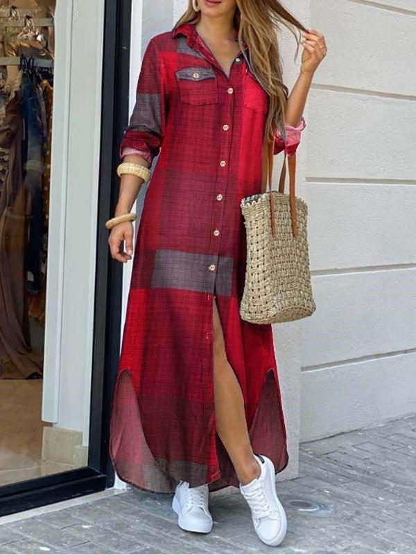 Fashion Casual Plaid Lapel Long sleeve Skirt Maxi Dresses