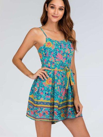 Fashion Floral Lacing Vest Jumpsuits