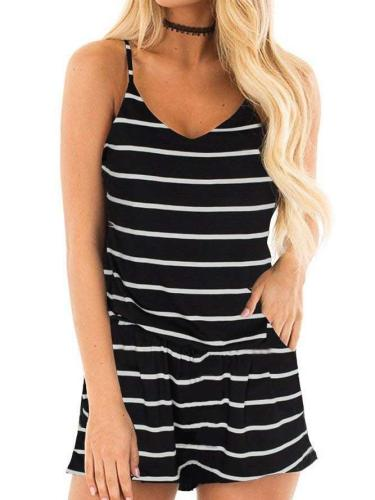 Fashion Stripe Vest V neck Jumpsuits