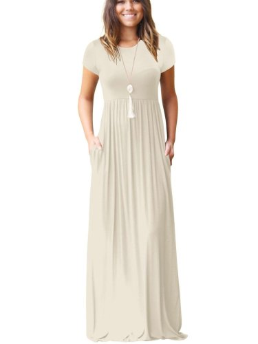 Casual Short sleeve Pocket Maxi Dresses