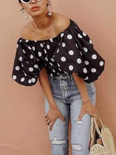 Black Polka Dot Off Shoulder Blouses