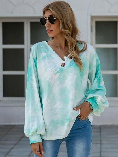 Fashion Casual Tie-dye V neck Long sleeve Sweatshirts