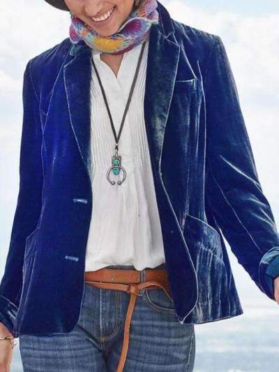 Fashion Pure Lapel Long sleeve Pleuche Coats