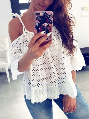 Sexy Casual Vest Off shoulder Hollow out Pure T-Shirts