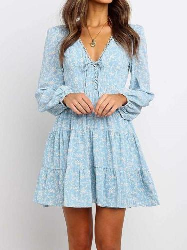 Fashion Print V neck Lacing Skater Dresses