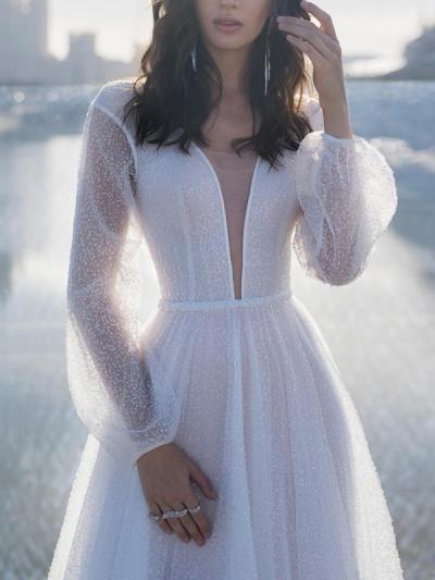 Sexy deep v neck backless women long sleeve evening dresses