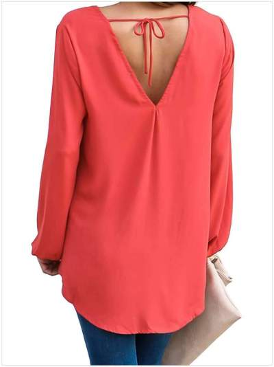 Fashion V neck Long sleeve Snarl Blouses