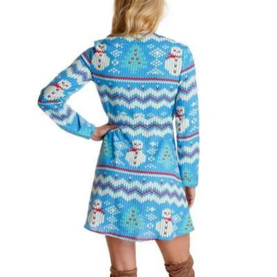 Fashion  Christmas Print V neck Long sleeve Skater Dresses