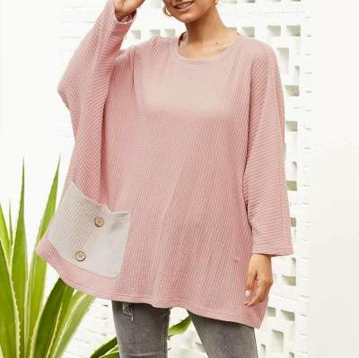 Loose Knit Long sleeve Pocket Round neck Sweaters