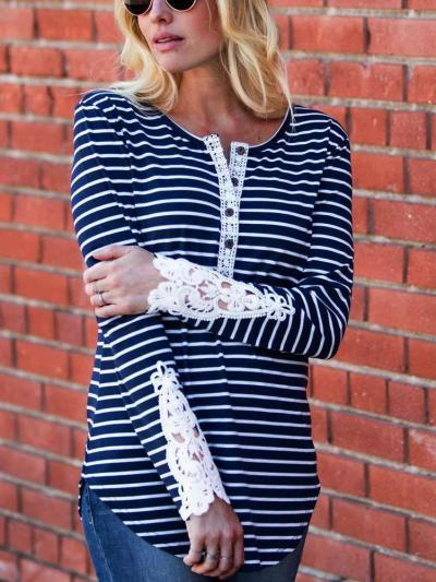 Sexy Lace Fastener Irregular Long sleeve T-Shirts