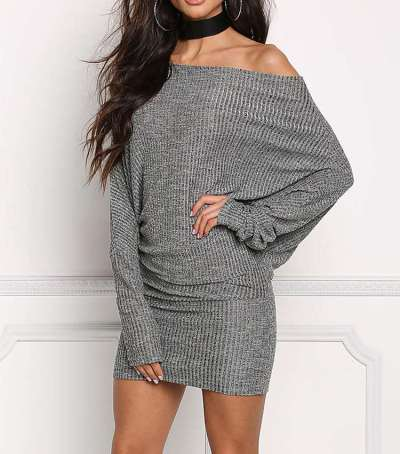 Pure One shoelder Loose Batwing sleeve Bodycon Dresses