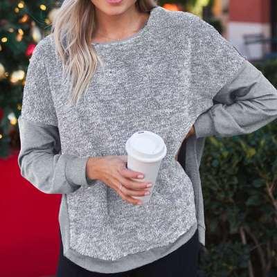 Fashion Loose Plush Gored Vent Irregular Sweatshirts