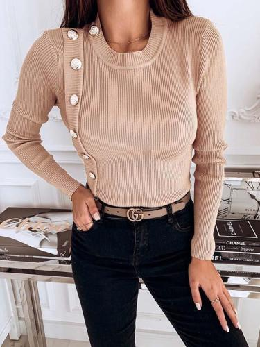 Button Decoration Slim Women Long Sleeve Knit Sweaters