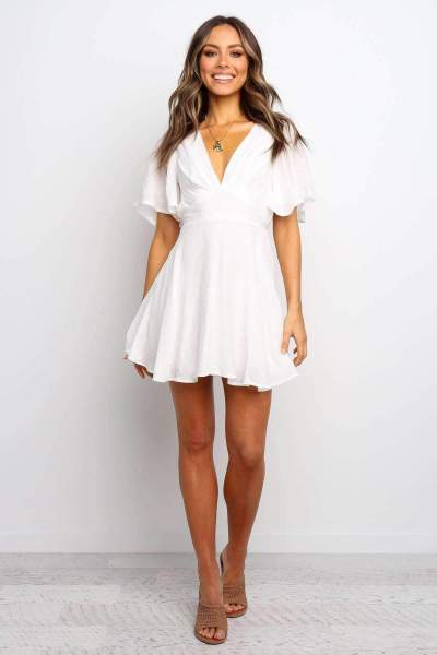 Fashion Pure V neck Short sleeve Skater Dresses