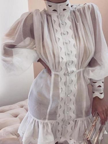 Chic women fashion white high collar long sleeve shift dresses