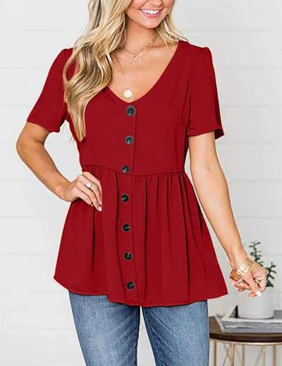 Loose Pure V neck Short sleeve Fastener T-Shirts