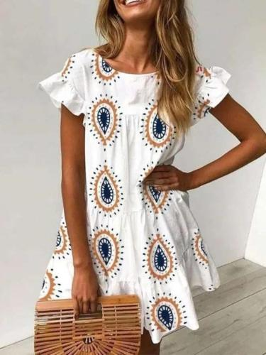 Casual Loose Print Round neck Short sleeve Falbala Shift Dresses
