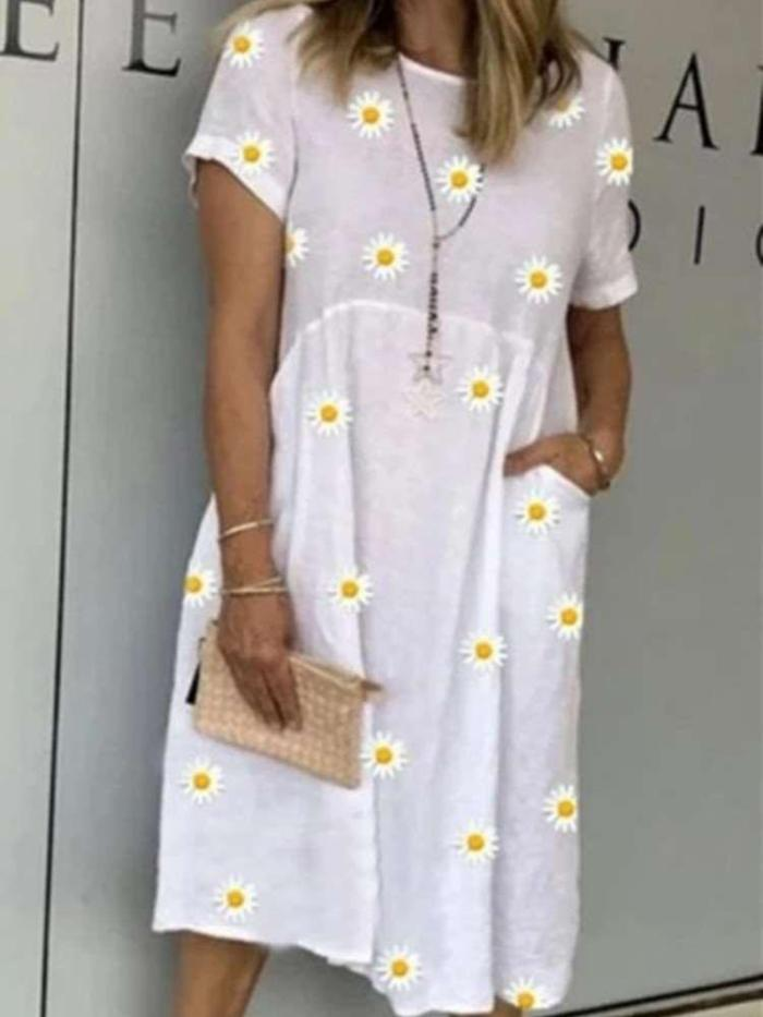 Casual Loose Print Round neck Short sleeve Gored Pocket Maxi Dresses