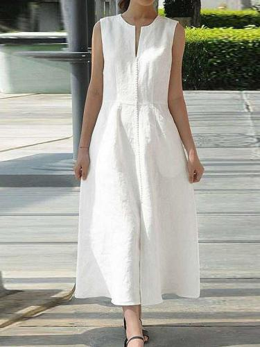 Casual Loose Pure Round neck Sleeveless Skater Maxi Dresses