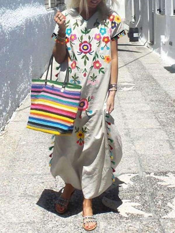 Casual Print V neck Short sleeve Maxi Dresses