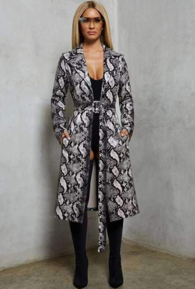 Fashion Serpentine printing Lapel Belt Coats