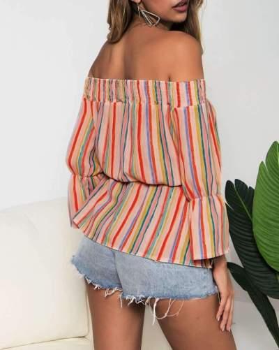Fashion Stripe Off shoulder Skater Blouses