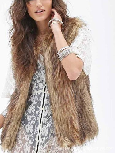 Faux Fur Collarless Plain Waistcoat