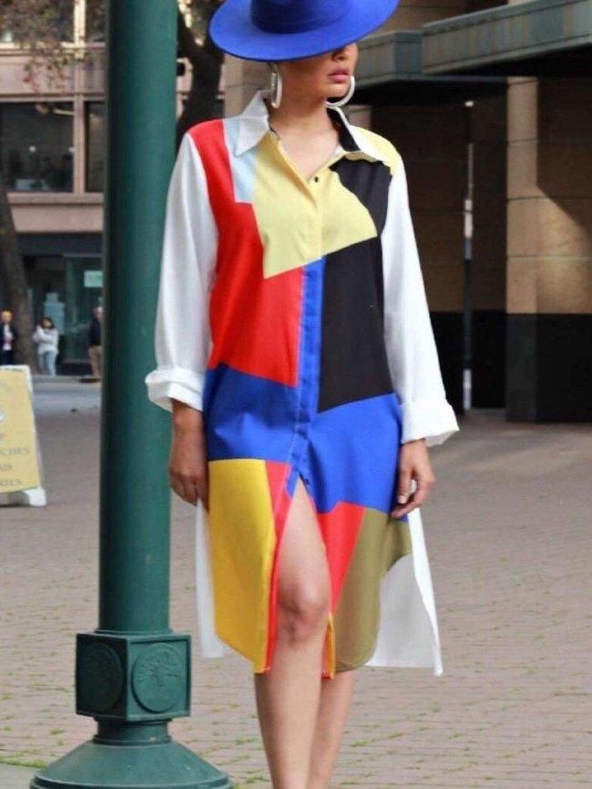 Fashion Gored Long sleeve Skirt Shift Dresses