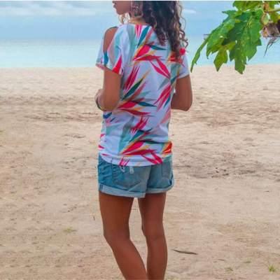 Fashion Print Round neck Off shoulder Short sleeve T-Shirts